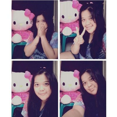 (4) With Big HK from my lovely mom <3 Me Selca Takeaselca With Pink HK doll mine cute loveit nice random tshirt 4pages instapict instacool tagsforlove likeme flwme