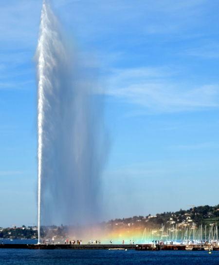 Blue City Fountain Geneva Geneve Jet D'eau Jet D'Eau De Genève Motion Outdoors Rainbow Sky Switzerland Tranquil Scene Travel Destinations Water