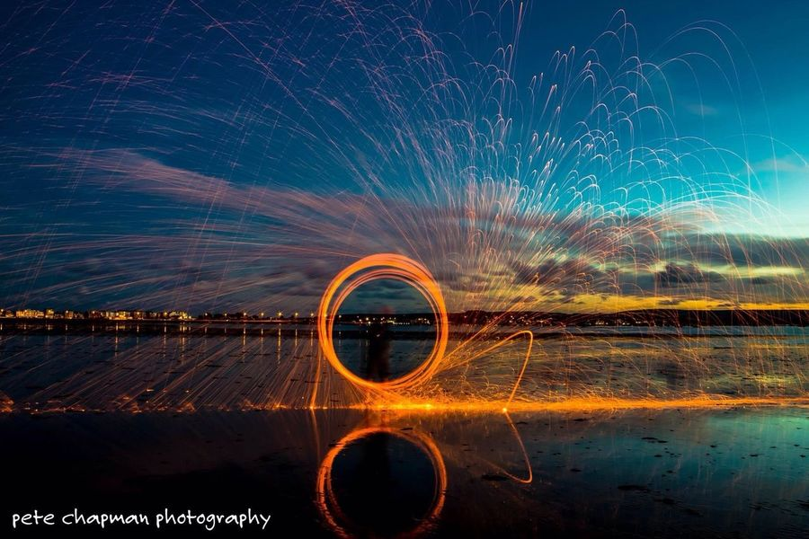 Steel Wool Spinning Sunset Poole Harbour