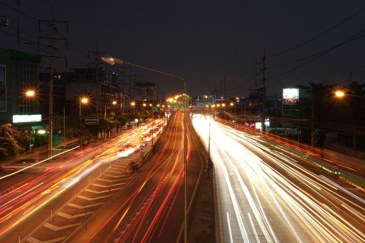 Bangkok City Traffic Jam Long Exposure Motion