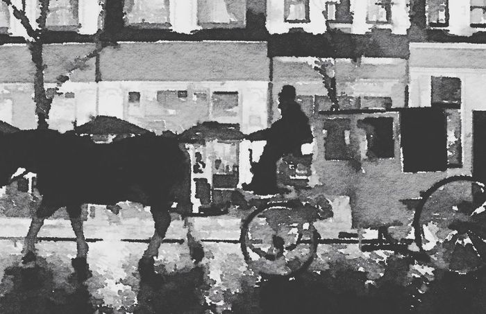 Fantastic Streetphotography Blackandwhite Monochrome Art Horse Drawn Carriages Oil Painting