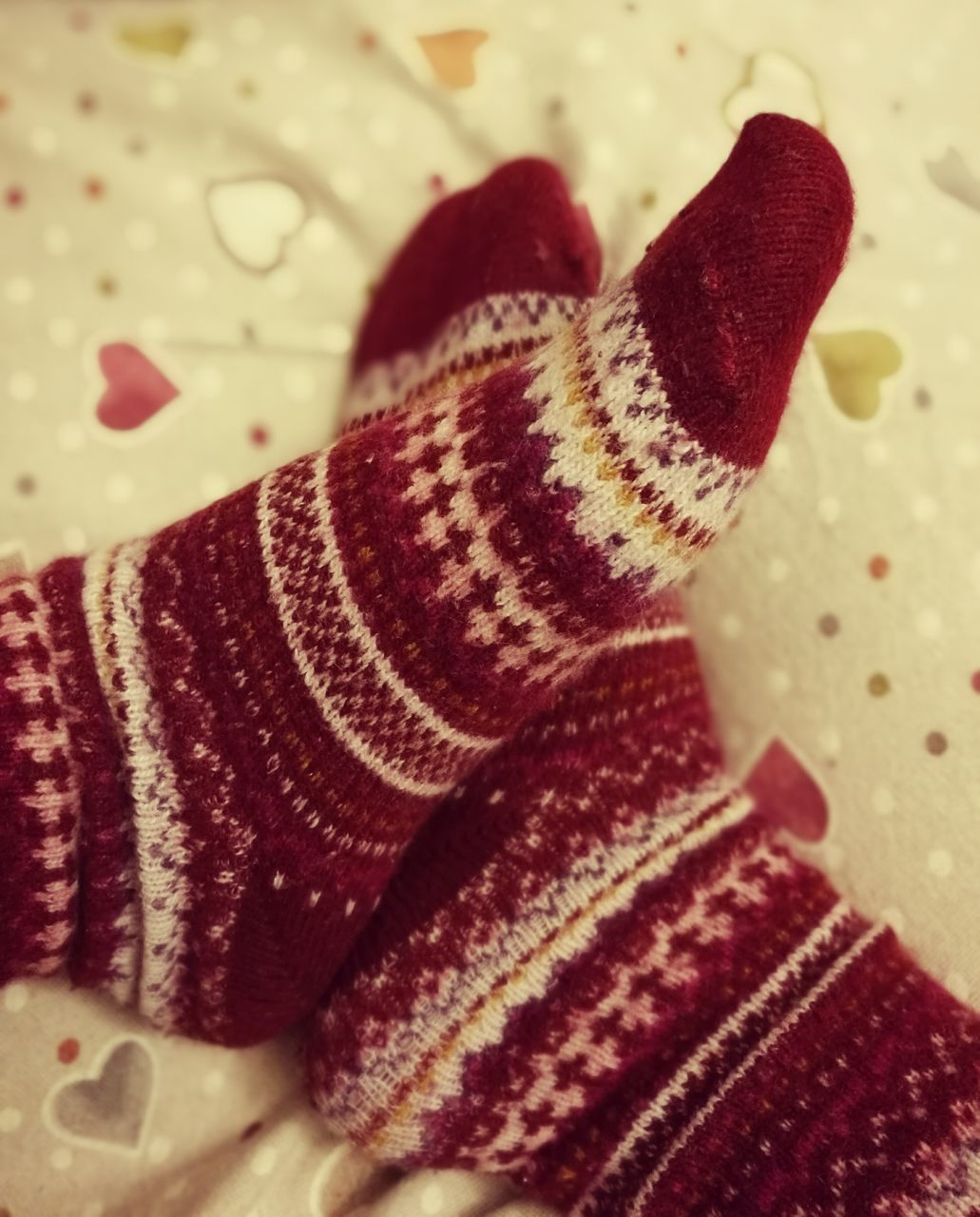 indoors, close-up, wool, woolen, one person, real people, pattern, human leg, low section, human body part, sock, day, people