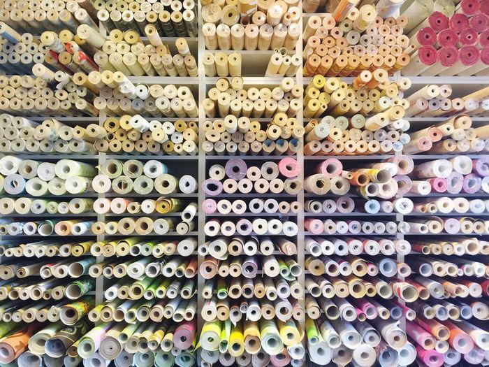Full frame shot of thread reels in shop