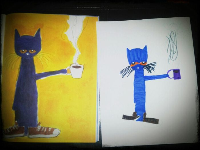 My Lil Sis Drew This. #drawing #cat #blue