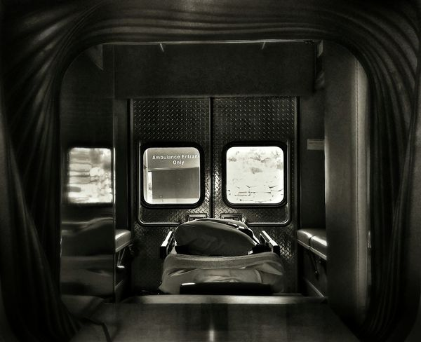 B&w Street Photography Looking To The Other Side Ambulance Ambulans Medicine Life And Death Emergency EMS Chaos Office Framed
