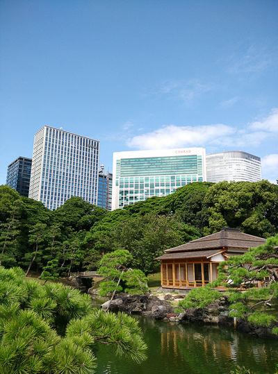 Japanese Garden Tea House Tokyo Tokyo,Japan Urban Contrast