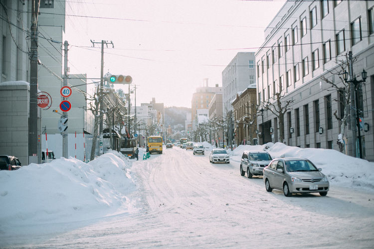 City City Street Cold Temperature Covering Nature Snow Snowing Street Transportation Winter