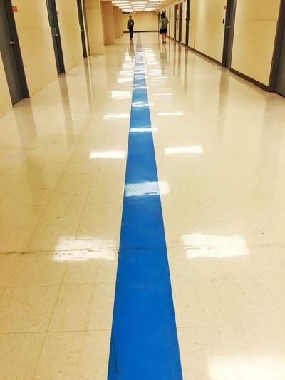 Leading Lines Leadinglines Blue Line Hallway Hallway Photo Hallway Pics Corridor Underground Tunnel Reflections On The Floor IPhoneography IPhone Minneapolis Minnesota