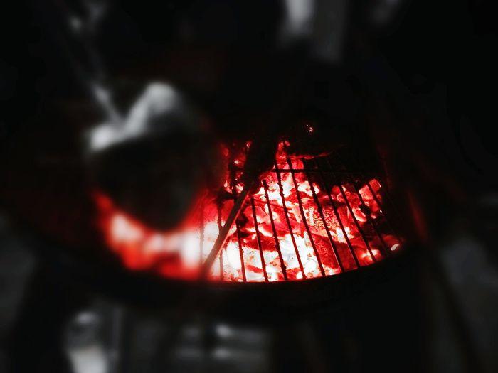 Summer Bbq Night Selective Focus Burningcharcoal Hotredcharcoal
