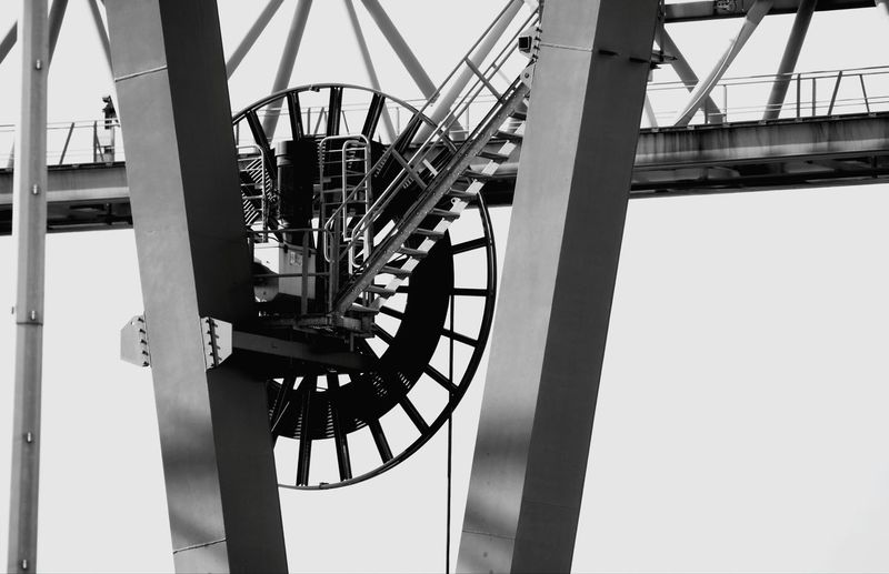 Part Of A Container Crane Container Crane Part Of Black And White Girder Sky