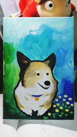 Dear my Yoolmoo Welshi Corgi Painting Art? Sunday Evening