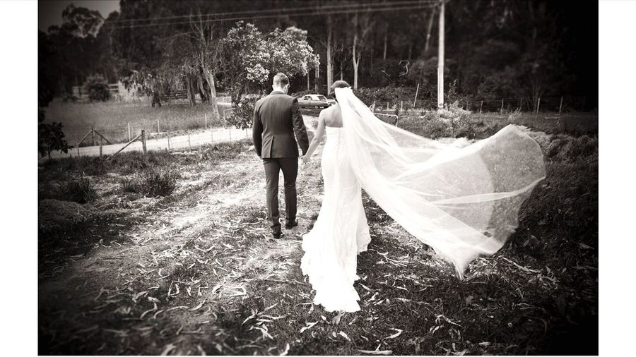Kim and Toby Wedding Wedding Countryside Outdoors Bride Veil Bride And Groom Tasmania Travel First Eyeem Photo