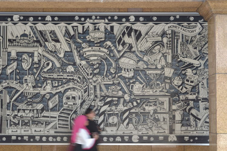 Editorial  Mural Wall, Currency Finance Paper Currency One Person Real People People Indoors  Day Adult Close-up Adults Only