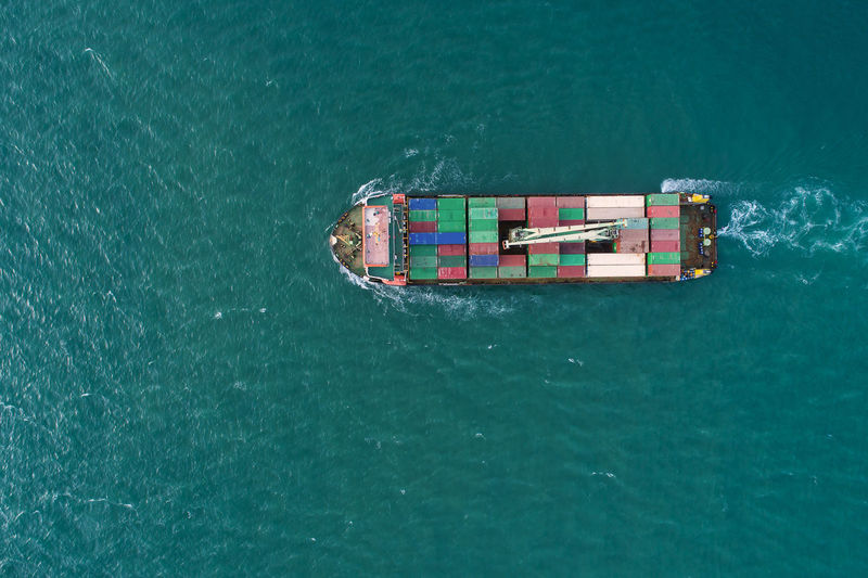 Cargo container on sea