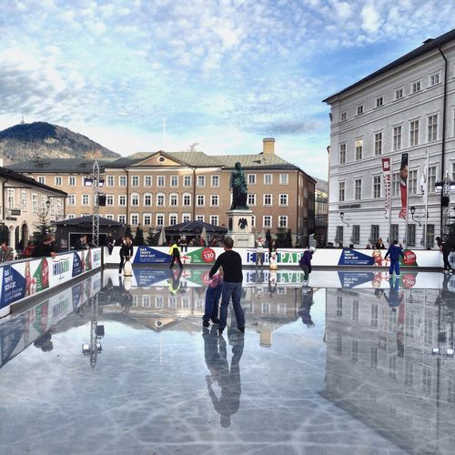 Salzburg Destination Christmas Winter Ice Skating Beautiful Family