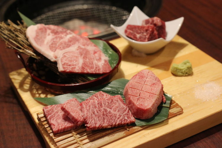 Close-Up Of Raw Meat On Table