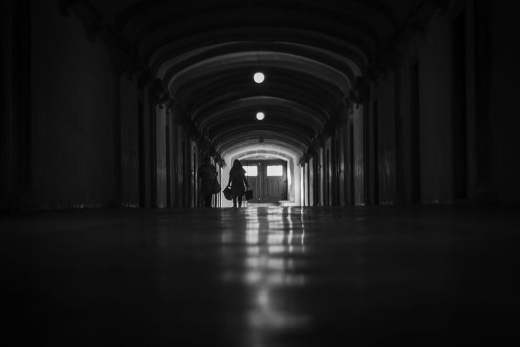 Arch Arched Architecture Blackandwhite Corridor Diminishing Perspective Floor Flooring Indoors  People And Places Selective Focus Surface Level The Way Forward