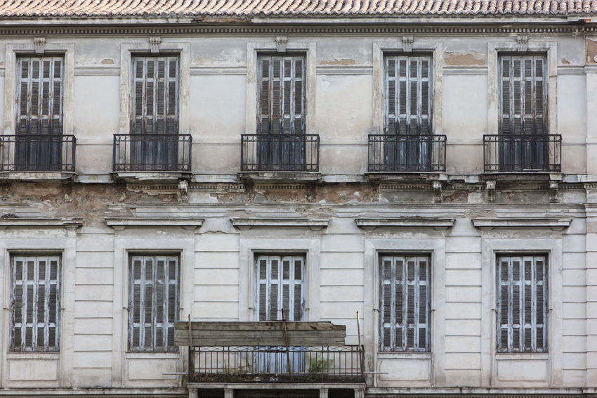 Weathered Abandoned Apartment Architecture Athens Backgrounds Balcony Building Building Exterior Built Structure City Day Façade Full Frame In A Row Neo-classical No People Old Outdoors Ruined The Past Window