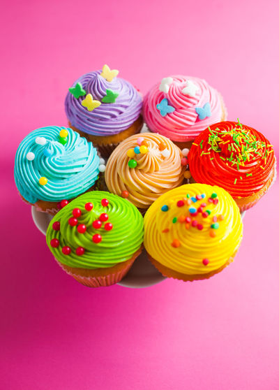 Close-up of cupcakes against colored background
