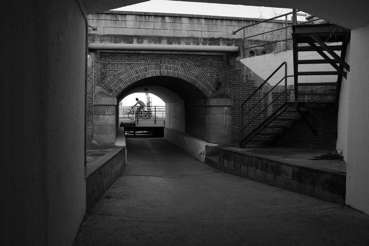 Depth Arch Built Structure Architecture Bicycles Port Balis Subterranean Passage Stairs Railing Brick Arch Acros Film Sim