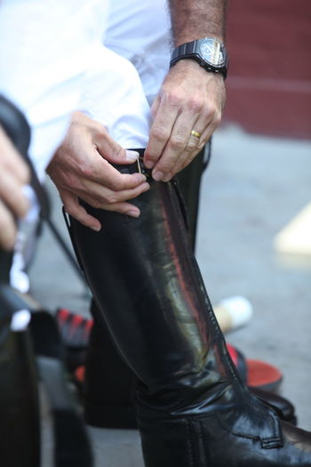 Low Section Of Polo Player Wearing Riding Boot