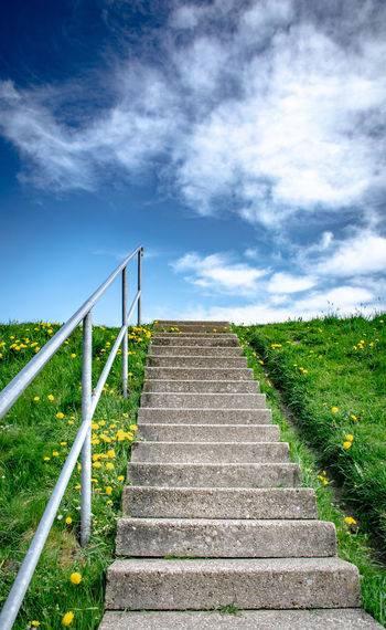 Move on - https://youtu.be/1V0lJZJDE6M Cloud - Sky Sky Staircase Direction Architecture The Way Forward Steps And Staircases Plant Nature Day Low Angle View No People Railing Built Structure Land Grass Outdoors Green Color Beauty In Nature Scenics - Nature Seawall Dike Dyke