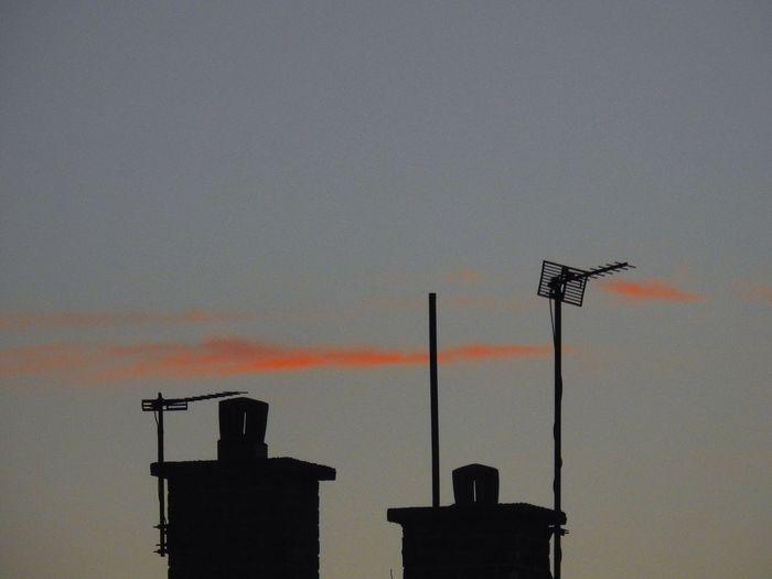 Sunset Sky Chimneys Aeriels Clouds