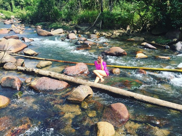Water River Nature Real People Outdoors Beauty In Nature Forest Women Day Waterfall Thailand Tree Leaf Phangnga Traveling Rock Live For The Story