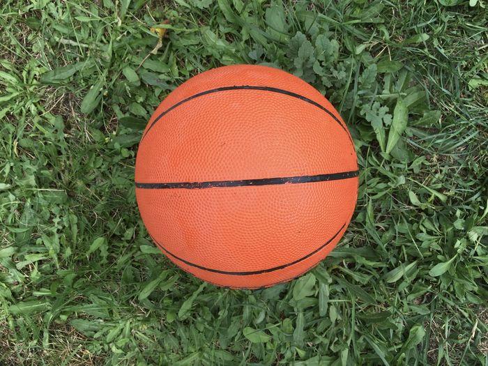 High angle view of basketball hoop on field