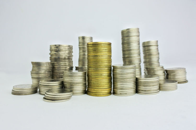 Business Coin Currency Economy Finance Indoors  Large Group Of Objects Savings Stack Still Life Studio Shot Wealth