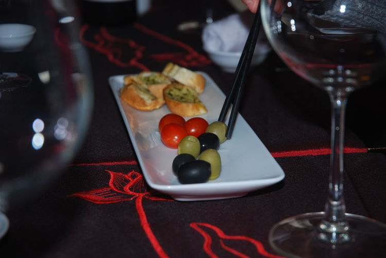 Close-up of food served in plate on table at restaurant