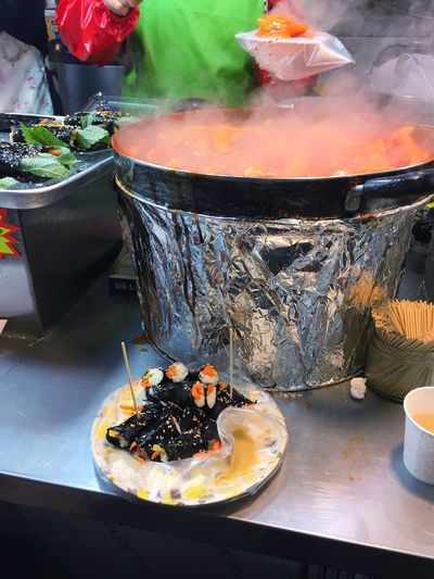 One of the favorite street foods. Korean Food 떡볶이 김밥 Street Food Food Stories Food And Drink Food Smoke - Physical Structure Heat - Temperature Freshness Plate Flame Steam Close-up Ready-to-eat No People Food Stories