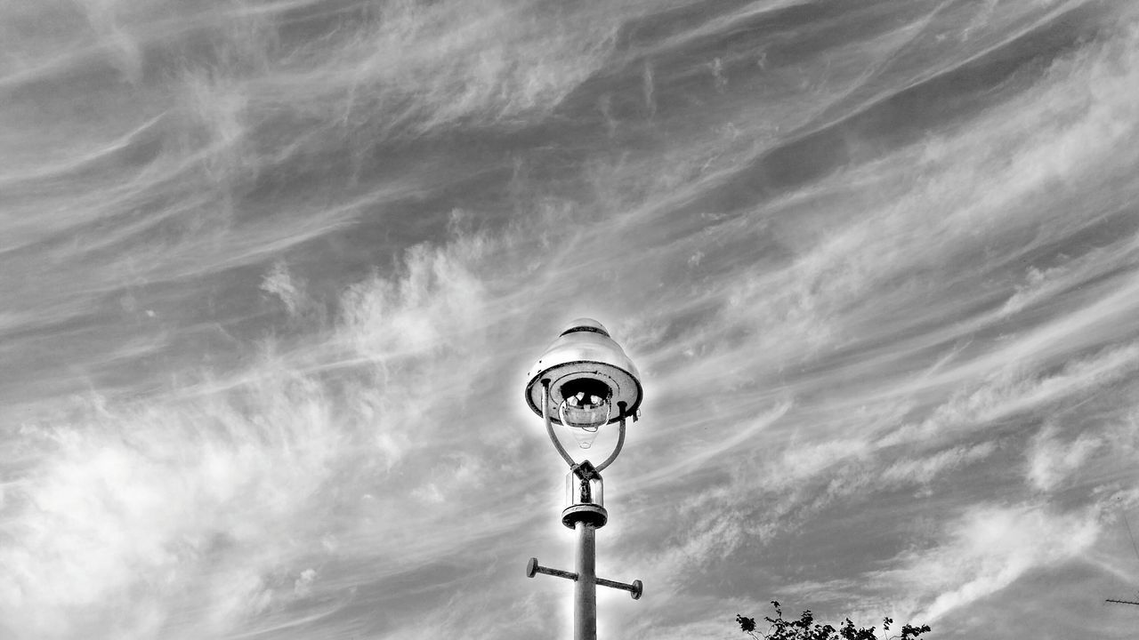 lighting equipment, street light, low angle view, outdoors, sky, day, cloud - sky, nature, no people
