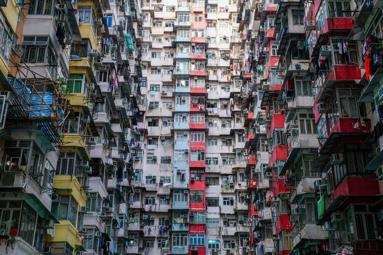 dense hongkong living Architecture Abundance Built Structure No People Choice Large Group Of Objects Variation Full Frame Day Building Backgrounds Residential District Building Exterior Outdoors City Collection Transportation Multi Colored In A Row Hanging Apartment