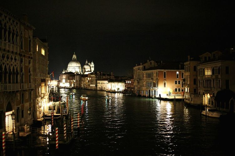 Night City Illuminated Water Architecture Sky No People Outdoors Canal Canal Grande Nightlife Travel Tourism City Life Reflection Venice, ıtaly Dark Architecture Indoors  City