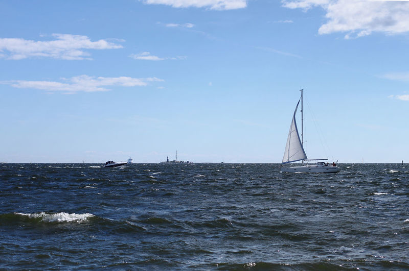 Blue Boat Cloud Horizon Over Water Journey Mode Of Transport Nautical Vessel Sailboat Sailing Sea Sky Suomenlinna Tranquil Scene Transportation Water Waterfront