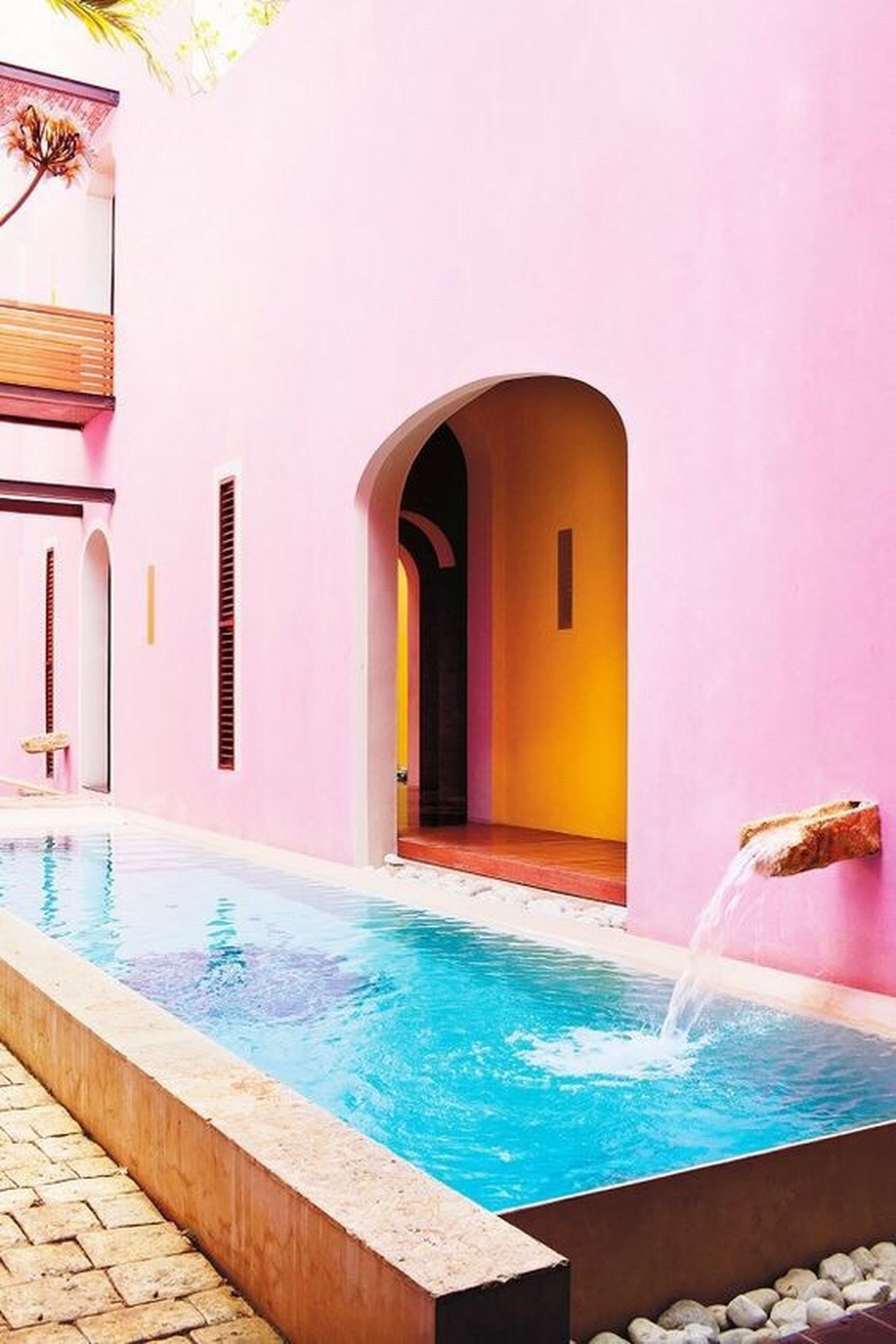 architecture, arch, swimming pool, travel, travel destinations, pink color, no people, built structure, luxury, cultures, water, outdoors, day