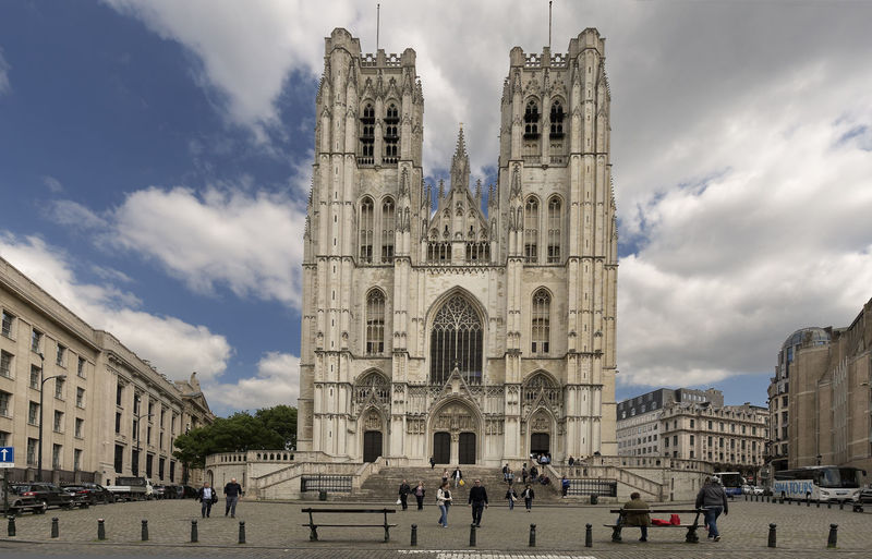 Brussels, Belgium. May 3, 2018: Cathedral of San Miguel and Santa Gudula in the Belgian capital. Cathedral Of Brussels Belgium Cathedral Arch Architecture Building Building Exterior Built Structure City Cloud - Sky Crowd Day Europe Group Of People History Large Group Of People Nature Outdoors Real People Religion Sky The Past Tourism Travel Travel Destinations