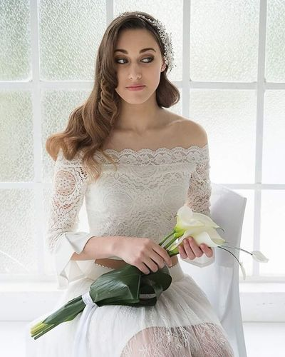 Only Women One Person One Woman Only Adult Indoors  People Brown Hair One Young Woman Only Young Adult Front View Beautiful Woman Young Women Portrait Day Wedding Dress Bride
