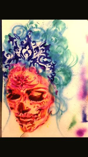 Day of dead stencil Blue Tiara Skull Makeup Day Of Dead Princess Stencil Transfer Print Close-up No People Indoors  Paint Creativity Multi Colored Art And Craft Design Flower Red Paintings High Angle View Table