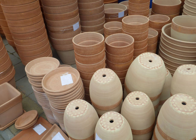 Flowerpots Gardening Market Vase Accessory Accessory Shop Arrangement Ceramic Ceramics Clay Craft Flowerpot Flowerpots Garden Handmade Large Group Of Objects Manufacture Many No People Pile Product Shop Stack Store Terracotta Warehouse