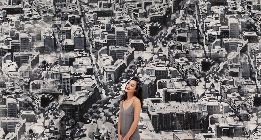Cityscape Architecture Beautiful Woman City Cityscape Gray Gray Color Grayscale One Person One Woman Only One Young Woman Only Only Women Portrait Smiling Standing