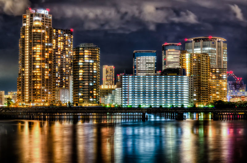 HDR Tokyo Night Japan Japan Photography Building Exterior Architecture Water City Built Structure Night Building Illuminated Reflection Office Building Exterior Waterfront Cityscape River Sky Cloud - Sky Urban Skyline Skyscraper Nature Landscape Modern No People Outdoors Financial District