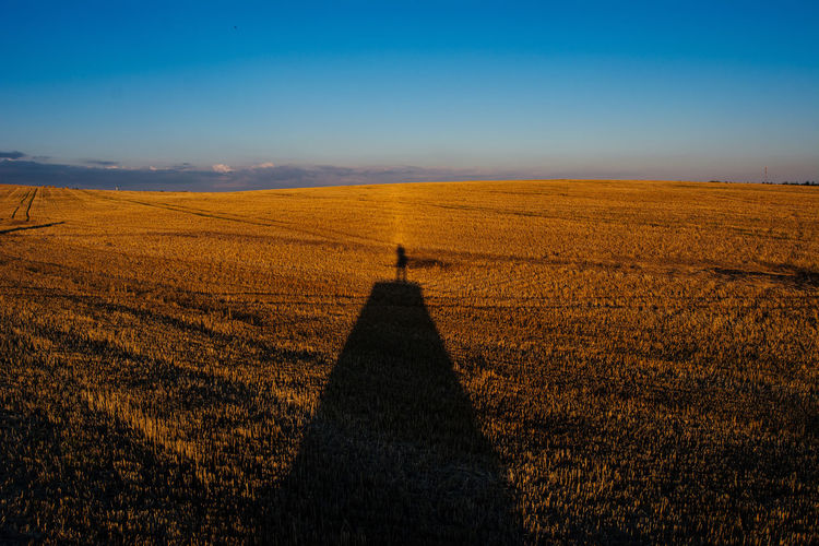 Shadow Of Person On Hay Bale At Agricultural Field