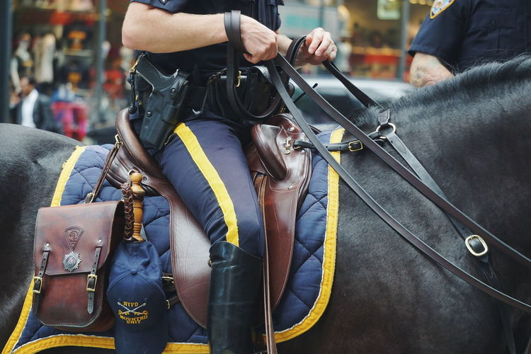 Midsection of police officer riding horse in city