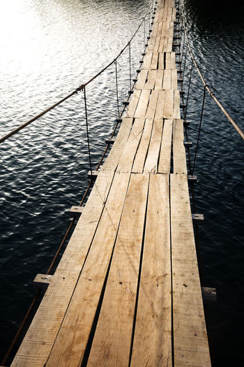 Water Wood - Material Nature Railing High Angle View Lake No People Day Jetty Wood The Way Forward Outdoors Direction Built Structure Transportation Rippled Wood Paneling Bridge - Man Made Structure Suspension Bridge Wooden Bridge Walk Bridge Adventure Simple Bridge
