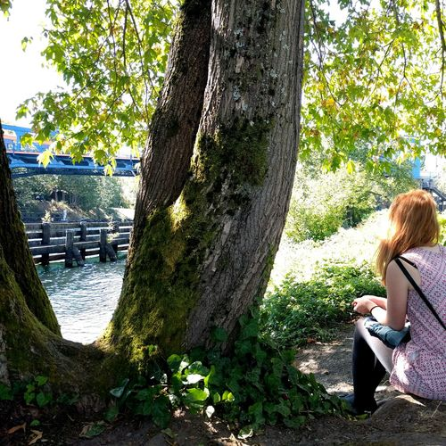 The way the sunlight plays upon her hair. Beautiful Woman Redhead Riverbank Bridge Nature A Gentle Word