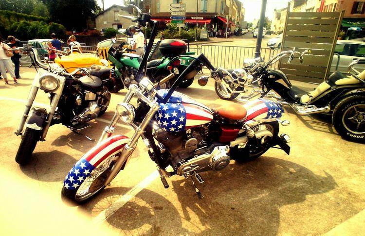 Moto Tete De Mort Drapeau Americain