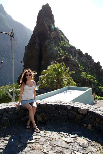 Canary Islands Casual Clothing Girl Leisure Activity Lifestyles Masca Masca, Tenerife Mountain Nature Portrait Rock - Object Sitting Tenerife Tourist Traveling Young Women