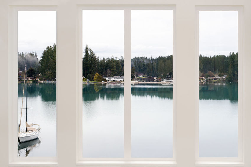 Architecture Boat Built Structure Day Frame Green Harbor Indoors  Lake Landscape Luxury Nature No People Pacific Northwest  Reflection Room With A View Sailboat Sky Tree View Washington Water White Window Windows